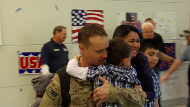 Family Greeting Soldier Coming Home from War on March 21 2012 in Baltimore MD