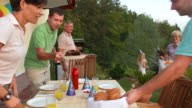 HD CRANE: Family Having Barbecue Birthday Party