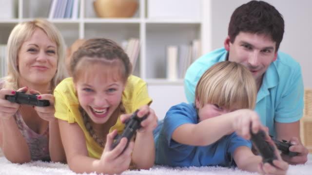 HD: Family Having Fun Playing Video Games