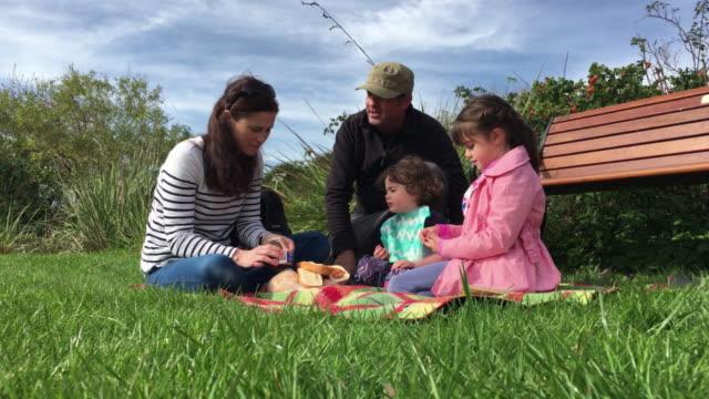 Family having picnic outdoors