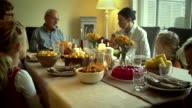 Family Having Traditional Holiday Stuffed Turkey Dinner - 4k Video