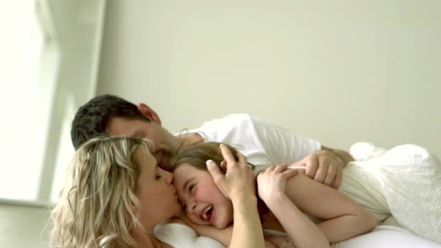 SLOW MOTION - Family Hug Bed Fun Sunday Morning