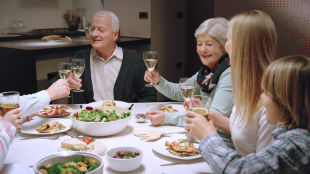 Family making a toast at the dinner table