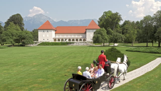 AERIAL Family on horse carriage ride through castle park