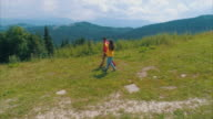 Family on mountain trail