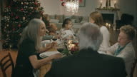 Family sitting on the table for christmas dinner.