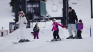 Family Snow Skiing at a Ski Resort