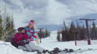 Family Snow Skiing at a Ski Resort