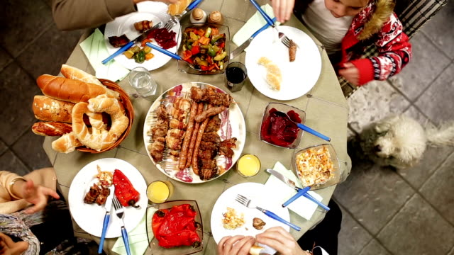 Family table with holiday foods