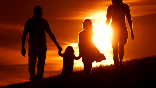 HD SLOW MOTION: Family Walking Across Meadow At Sunset