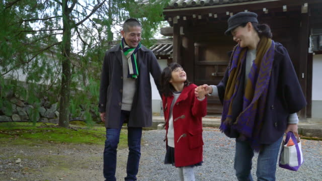 Family walking through a Japanese temple gardens