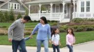 WS TS Family Walking Together in Suburban Neighborhood / Richmond, Virginia, USA