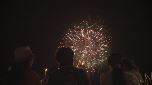 Family watching Firework