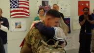 Family Welcoming Soldier Home from War on March 21 2012 in Baltimore MD