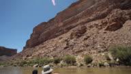 WS TD POV Family whitewater rafting down Colorado river in Grand Canyon / Grand Canyon Village, Arizona, USA