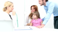 HD: Family with child visit doctor.