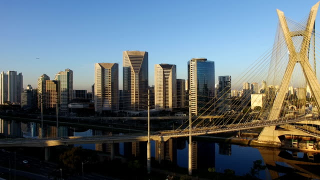 Famous cable stayed bridge at Sao Paulo city