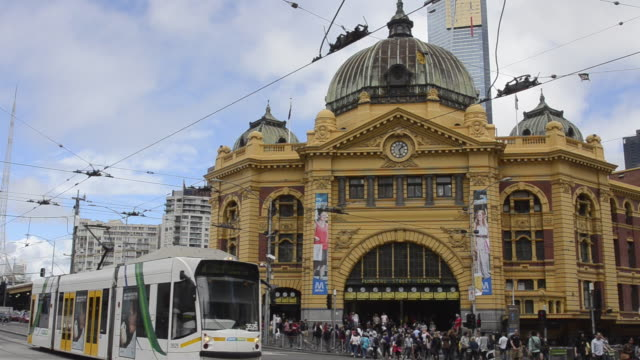 Famous Flinders Street Station for trans in downtown Melbourne Victoria Australia