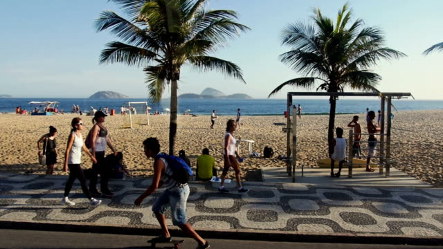 Famous Ipanema pedestrian walk from moving vehicle