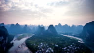 Famous mountain and river scene of Guilin, time lapse.