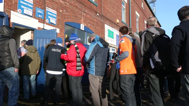 Fanns arrive at Oldham Athletic ground Boundary Park in Oldham for their FA Cup clash against Liverpool January 27 2013 General Views Of Oldham...