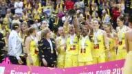 Fans and players of USK Prague celebrate after winning the FIBA Euroleague Women's basketball final four match between USK Prague and UMMC...
