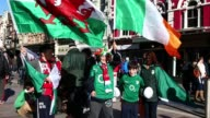 Fans arrive at the Millennium Stadium In Cardiff February 2 2013 for the Six Nations rugby match between Wales and Ireland Rugby Fans Arrive At The...