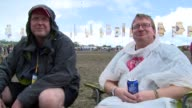 INTERVIEW Fans give their reactions at Glastonbury Festival on 28th June 2014 at Glastonbury Somerset England