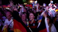 Fans of Germany celebrate victory following the semifinals World Cup soccer match between Brazil and Germany in Berlin Germany on July 08 2014...