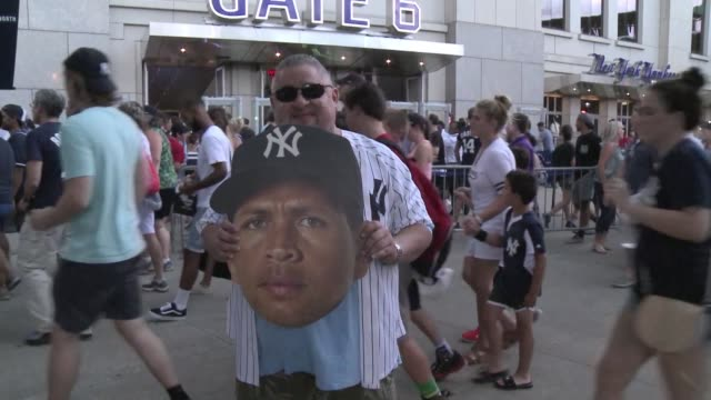 Fans of New York Yankee player Alex Rodriguez known as ARod flood to the Yankee stadium to see his last match