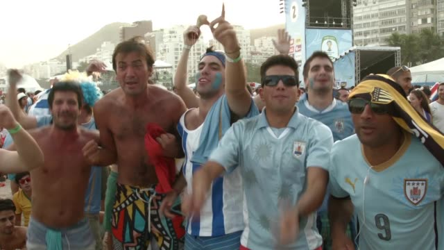 WS Fans watch Argentina beat Bosnia and Herzegovina 21 in World Cup play on the large screen setup at FIFA World Cup Fan Fest on Copacabana Beach on...
