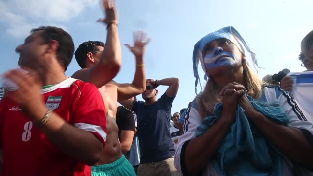 HA MS Fans watch Argentina beat Iran 10 in World Cup play on the large screen setup at FIFA World Cup Fan Fest on Copacabana Beach on the 21st of...