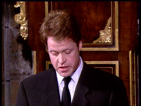 'Farewell to a Princess' ITN POOL TGV Interior of Abbey TILT Earl Spencer tribute cont'd tribute to her levelheadedness and strength/ most bizarre...