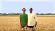 MS DS Farmer and Grandson Standing in Field of Wheat / Oyster, Virginia, USA