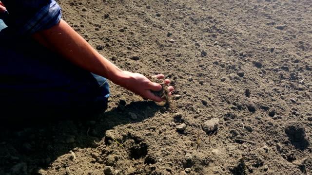 Farmer checking soil - 2 shots