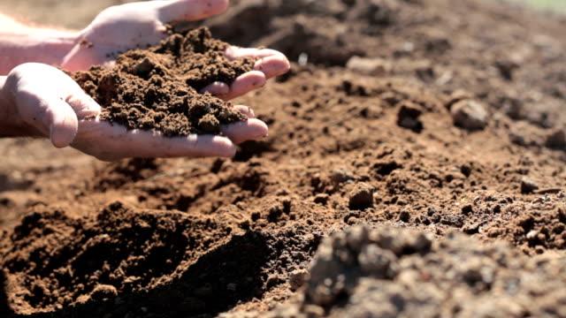 Landwirt Überprüfung Boden durch seine Finger