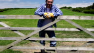 HD CRANE: Farmer leaning on gate of field (Farm Agriculture)