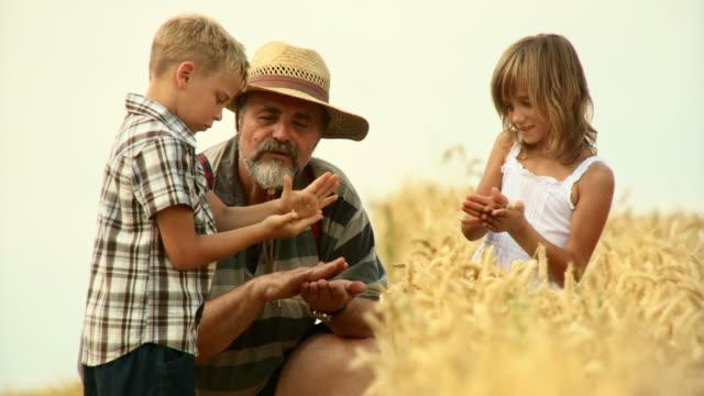 HD: Farmer Teaching His Grandchildren