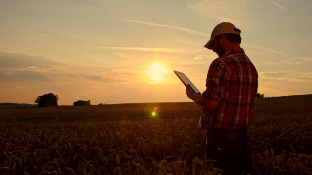 WS DS agricoltore utilizzando una tavoletta digitale nel campo