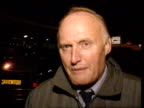 Farmers blockade Irish beef ITN Farmers away towards lorries Spikes on ground in front of lorry TILT UP to lorry Bob Parry intvwd the farmers have...