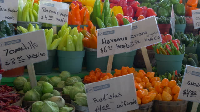 PAN RIGHT  Farmers Market fruits and vegetables on table, Dallas, Texas