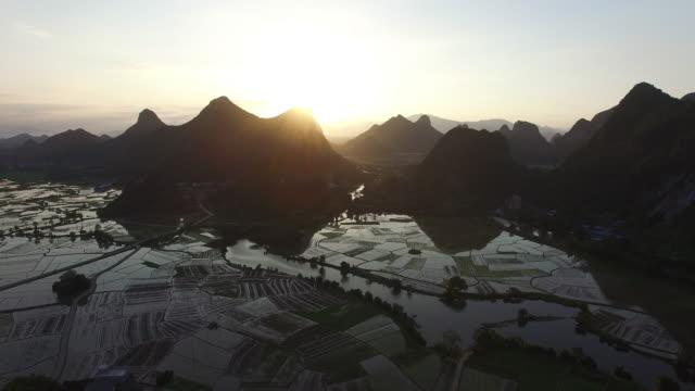Farmland and karst landform dusk,xingping,guilin