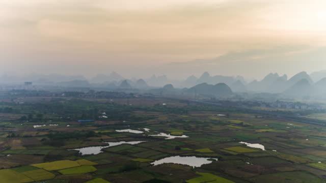 Farmland and karst landform dusk,xingping,yangshuo,guilin,china