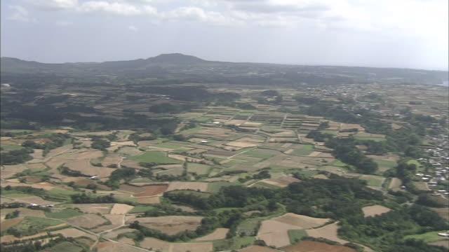 Farmland sprawls across  Tokunoshima Island in Kagoshima, Japan.