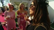 Fashion Aintree Ladies Day 2017 ENGLAND Merseyside Liverpool Aintree Racecourse EXT Various shots of lady racegoers in colourful dresses and hats/...