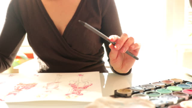 Fashion Designer Drawing Ideas in Sketches
