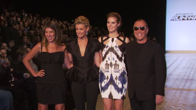 Fashion Director of Elle and Marie Claire Nina Garcia singer Faith Hill model Heidi Klum and Michael Kors at the Project Runway Fall 2010 MBFW at New...
