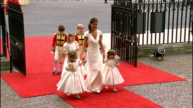 Karl Lagerfeld interview TX Westminster Abbey EXT Maid of Honour Pippa Middleton arriving at Westminster Abbey with bridesmaids and page boys for...