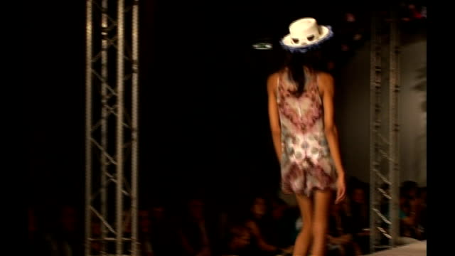 London Fashion Week Henry Holland ENGLAND London Natural History Museum INT Model Agyness Deyn along catwalk at show by designer Henry Holland /...