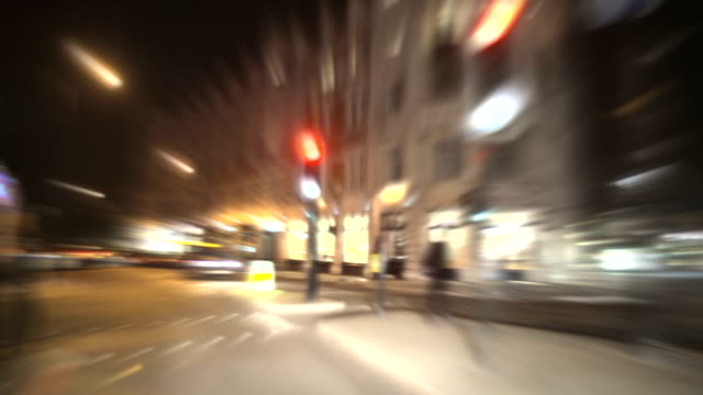 Fast City Night Driving Time-lapse Loop. HD